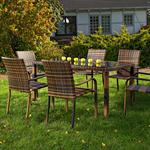 Poly Rattan Garden Furniture Set Lounge 6 Chairs+Table Seating Brown
