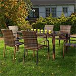 Poly Rattan Gartenset 6 Stühle + Tisch