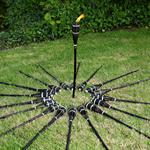 18 Pieces  Set Bamboo Torch Beacon Garden Outdoor Oil Lamp Kerosene Black