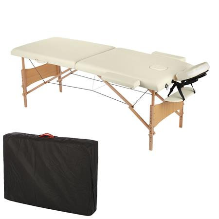 2 Zone Mobile Massage Table incl. Case Folding Massage Couch Bench Cream