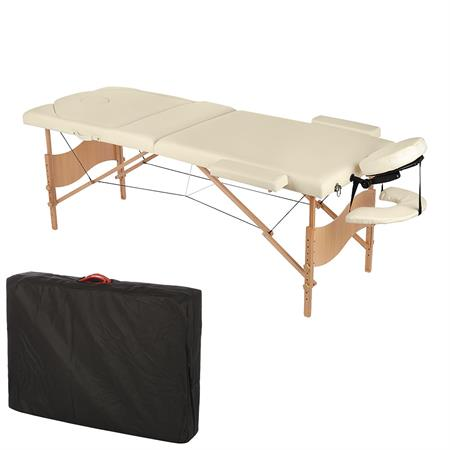 3 Zones Portable Massage Table Beauty Couch Bed Beige/Cream incl. Bag