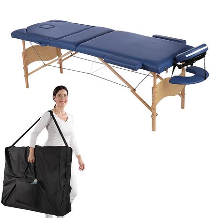 Aluminium 3 Zones Mobile Portable Folding Massage Table Couch Sofa Blue + Bag