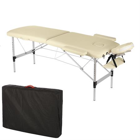 2 Zone Portable Folding Massage Table Lightweight Aluminium Bed Couch+Case Cream