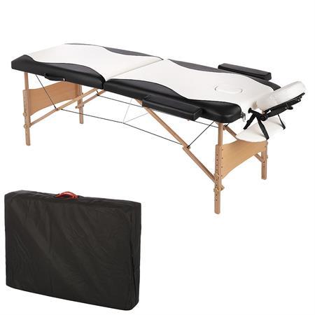 2 Zones Portable Massage Table Beauty Couch Bed+Bag Set White/Black
