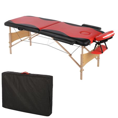 2 Zones Portable Massage Table Beauty Couch Bed Incl. Bag Folding Red/Black
