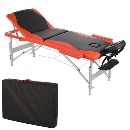 Aluminium 3 zones Mobile Portable Massage Table Couch Sofa Black/Orange + Bag