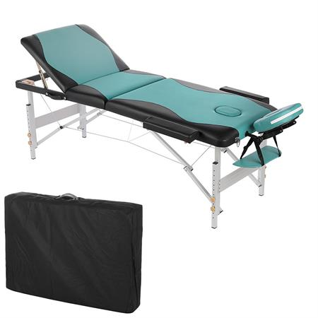 Aluminium 3 zones Mobile Portable Massage Table Couch Sofa Black/Turquoise + Bag