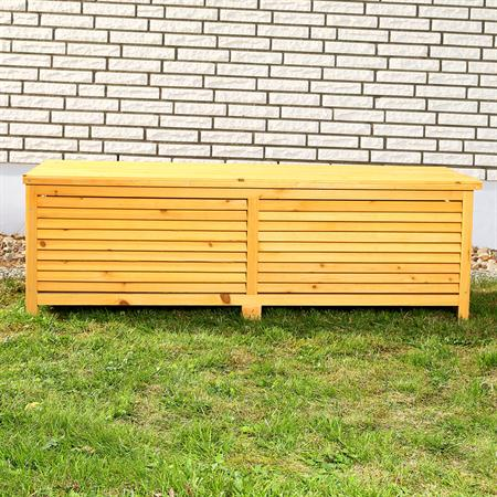 Outdoor Garden Wooden Chest Case Cushion Storage Box Tool Container Trunk
