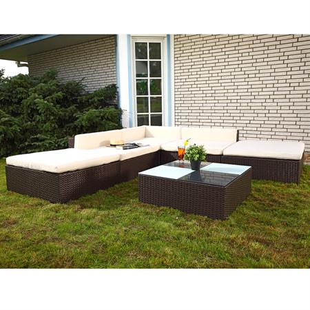 Rattan Garden Furniture Lounge Set Wicker Polyrattan Seat+Table Group Brown