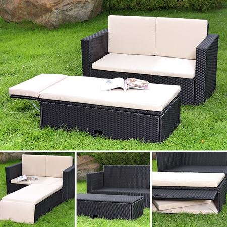 polyrattan gartensofa lounge sessel schwarz. Black Bedroom Furniture Sets. Home Design Ideas