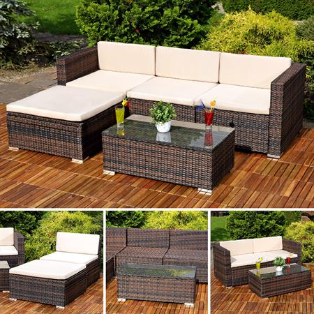 polyrattan gartenlounge gartengarnitur sofa braun. Black Bedroom Furniture Sets. Home Design Ideas
