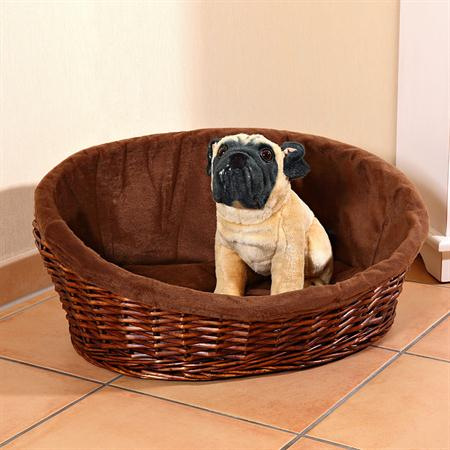 L Puppy Dog/Cat/Pet Animal Basket Bed Sofa Wicker Handmade + Cushion/Pillow