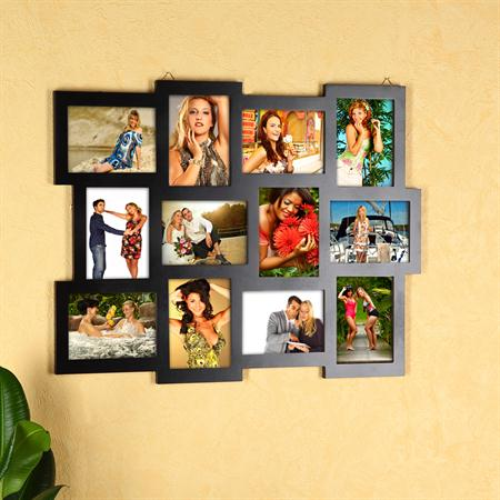 12 Photos Picture Frames Gallery Photo Frame Wooden Collage Black 10x15 Wall