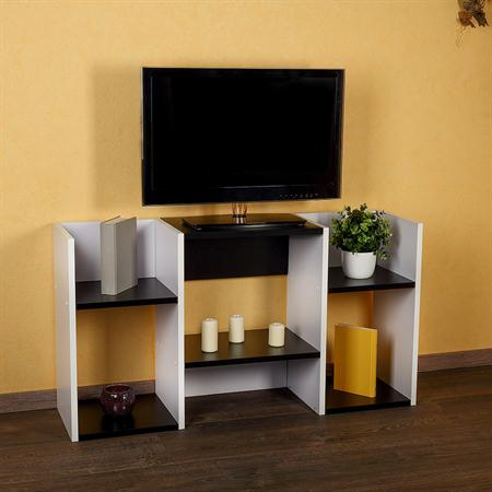 TV Stand Wooden Rack in White/Black Shelf TV Board with Shelf Space