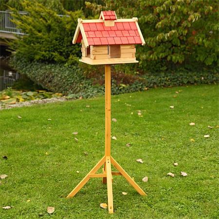 44cm Aviary Volery Bird House Nesting Box Wood Bird-seed Dispenser Feeder Red