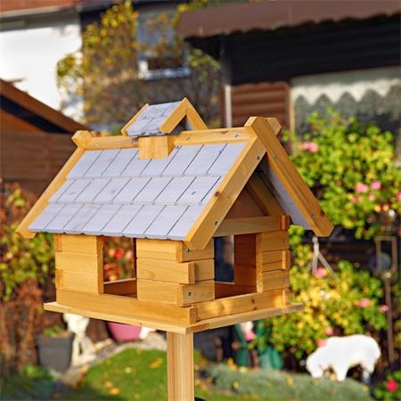 Vogelhaus 34x44x37 cm Vogelfutterhaus gelb/grau