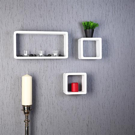 Set of 3 Wall Shelf Hanging Rack Bookcase Bookshelf CD Cube Shabby White