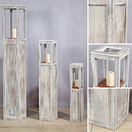 Set of 3 Lantern Wind Light Pillars Rustica Candle Wooden Lamp Candles White