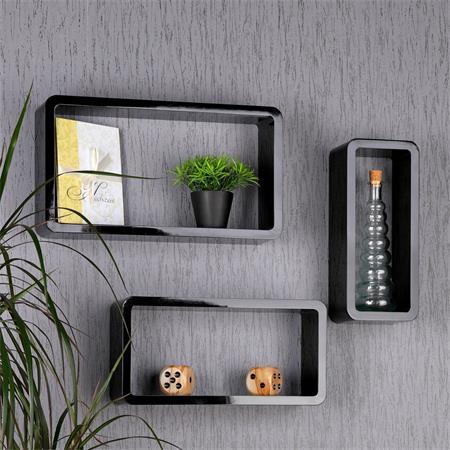 XXL Set of 3 Wall Shelf Hanging Rack Bookcase Bookshelf CD Cube Lounge Black