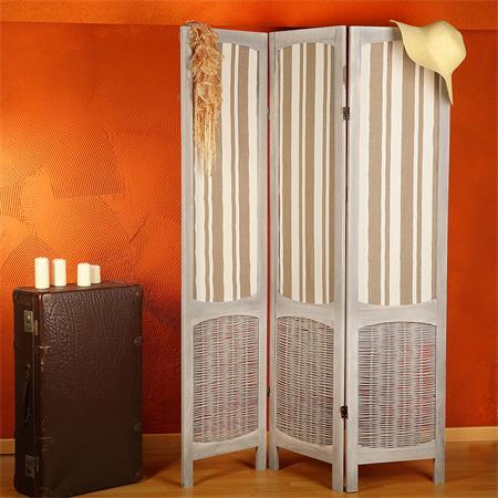 Paravent Raumteiler shabby braun/beige gestreift