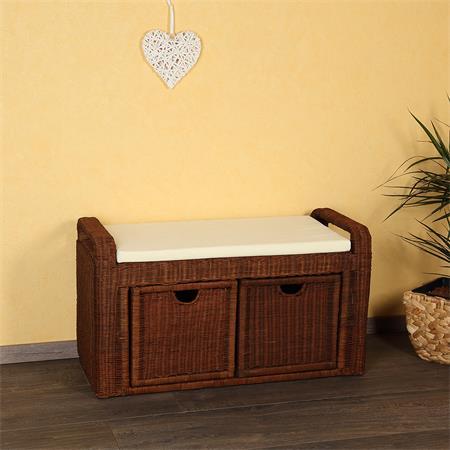 rattan sitzbank gepolstert w schekorb hocker braun. Black Bedroom Furniture Sets. Home Design Ideas