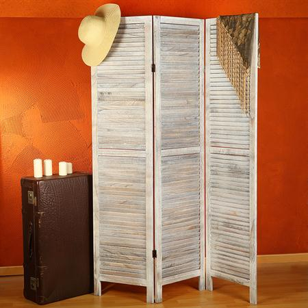 3-Panel Room Divider Shabby Chic in White Separating Wall Blade Privacy Shield
