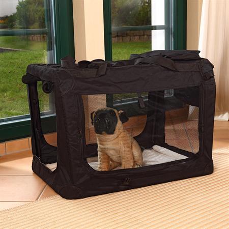 Foldable Dog/Puppy Animal Pet Carrier Transport Box Basket Cushion Black Size L
