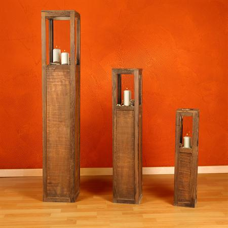 Set of 3 Lantern Wind Light Pillars Rustica Candle Wooden Lamp Candles Brown