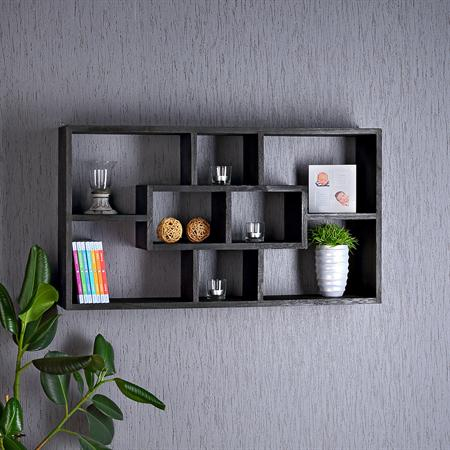 Wall Shelf Hanging Rack Bookcase Bookshelf Lounge Black
