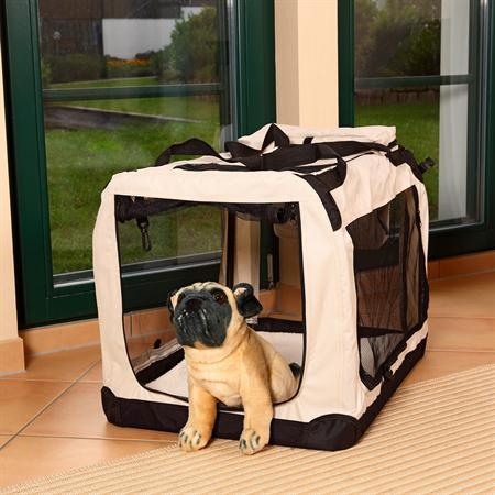 l faltbare hunde transportbox in beige. Black Bedroom Furniture Sets. Home Design Ideas