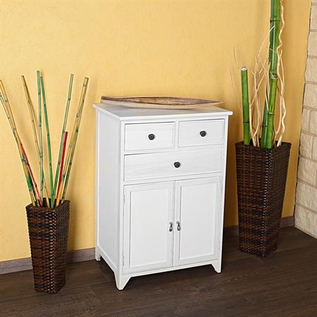 Commode Cabinet Sideboard Shelf Bath Cupboard Wooden Shabby Chic White Hallway