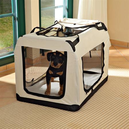 Foldable Dog/Puppy Animal Pet Carrier Transport Box Basket + Cushion Beige 82cm