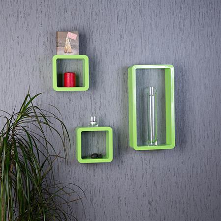 3er regal set wandregal aus holz hellgr n. Black Bedroom Furniture Sets. Home Design Ideas