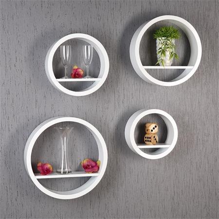 4er regal set wandregal aus holz rund wei. Black Bedroom Furniture Sets. Home Design Ideas