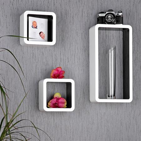 Set of 3 Wall Shelf Hanging Rack Bookshelf Cube CD-shelf Board Black/White