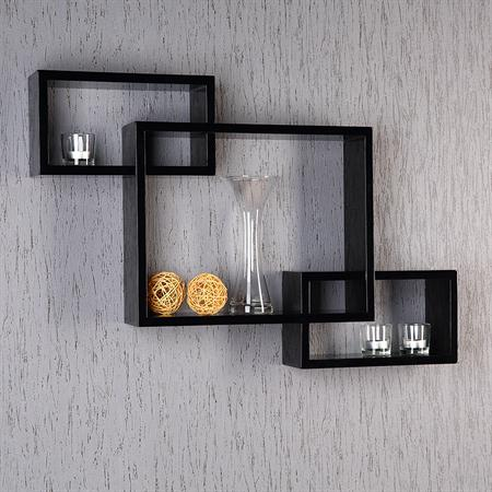 Set of 3 Wall Shelf Hanging Rack Bookshelf Bookcase CD-Shelf Lounge Black Retro