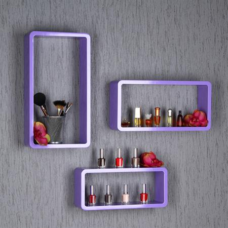XXL Set of 3 Wall Shelf Hanging Rack Bookcase Bookshelf CD Cube Lounge Purple