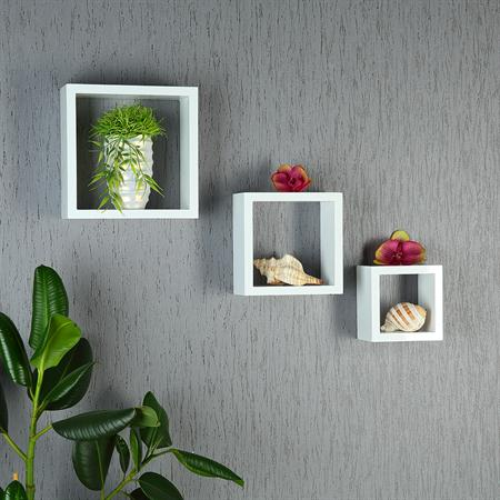 Set of 3 Wall Shelf Hanging Rack Bookcase Bookshelf CD Cube Lounge White Square