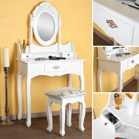 Dressing Table Stool Mirror Vanity Table Cosmetic Table Country Style White