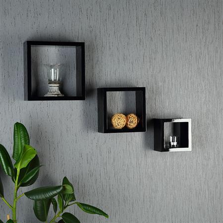 3er set regal wandregal eckig schwarz. Black Bedroom Furniture Sets. Home Design Ideas