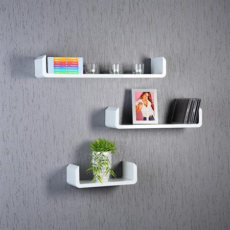 3er set regal wandregal rund wei. Black Bedroom Furniture Sets. Home Design Ideas