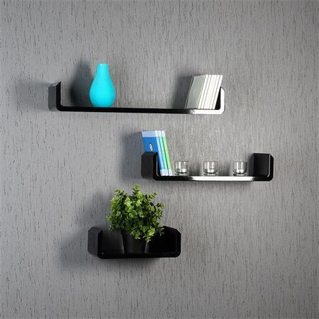 3er set regal wandregal rund schwarz. Black Bedroom Furniture Sets. Home Design Ideas
