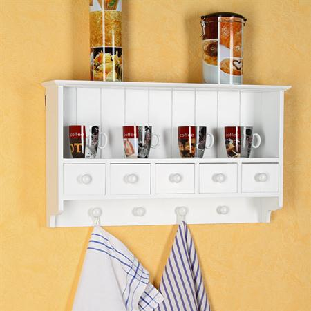 Kitchen Wall Shelf Country House Style White 4 hooks 5 drawers