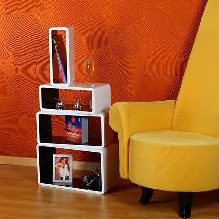 4er set regal wandregal rund holz wei schwarz. Black Bedroom Furniture Sets. Home Design Ideas