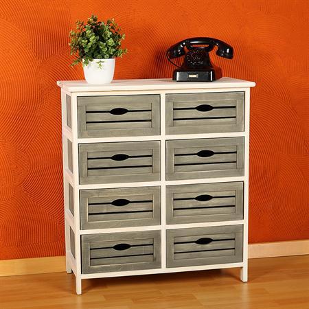 kommode mit 8 schubladen shabby braun grau wei. Black Bedroom Furniture Sets. Home Design Ideas
