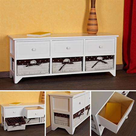 Bench 3 Drawers Settle Chest of Drawers White Country Style Wooden Bench White