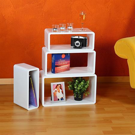 4er set regal wandregal rund holz wei wei. Black Bedroom Furniture Sets. Home Design Ideas