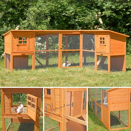 440cm Rabbit Cage Hutch Outdoor Pen Open-Air Enclosure Cage Rodent Stall