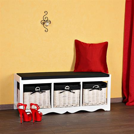 Country Style Bench Chest of Drawers Dresser Wicker Baskets Bench Cabinet White