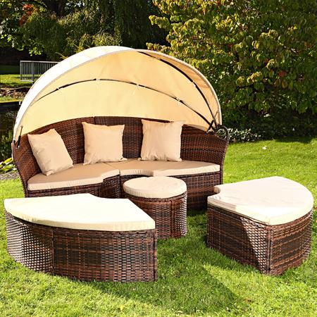 Garden Bed with Table Rattan Wicker Beach Chair Polyrattan Basket Sun Lounger